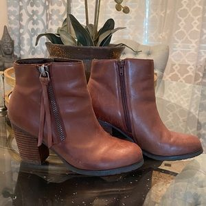 Marc Fisher brown leather zipper booties. …